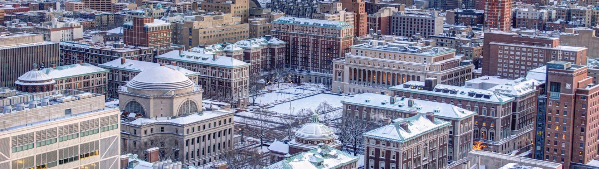 aerial shot of the Columbia University campus, covered in snow.