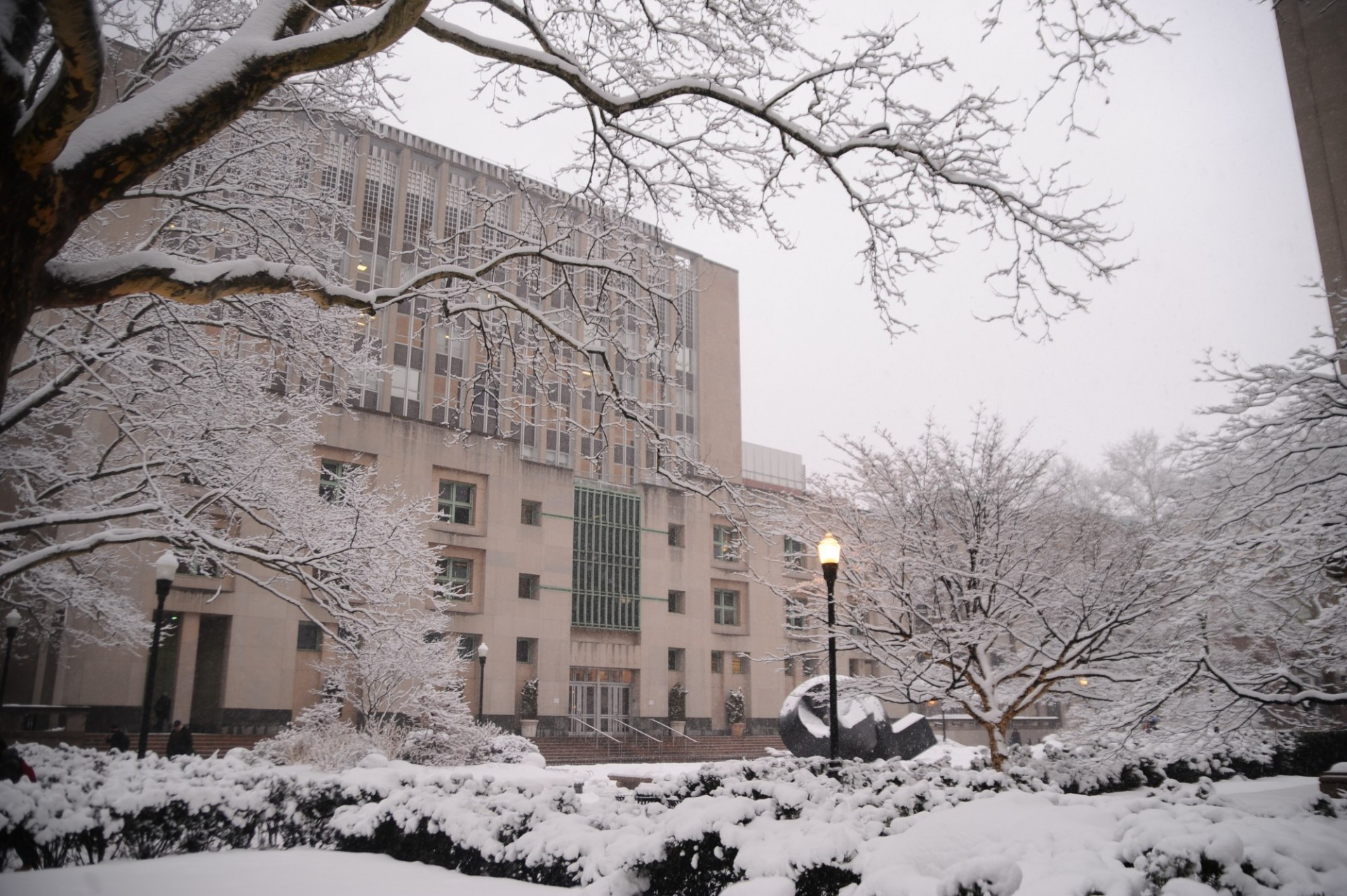 Uris during the winter with snow covering Uris Lawn.