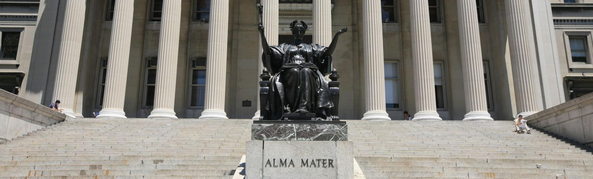 Alma Meter in front of Low Library